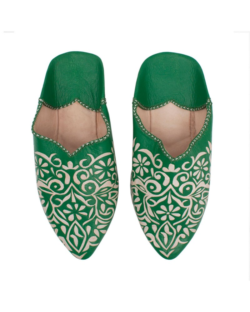 Decorative Babouche Slipper Green