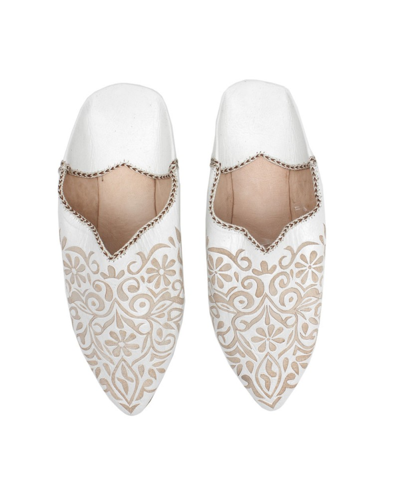 Decorative Babouche Slipper White