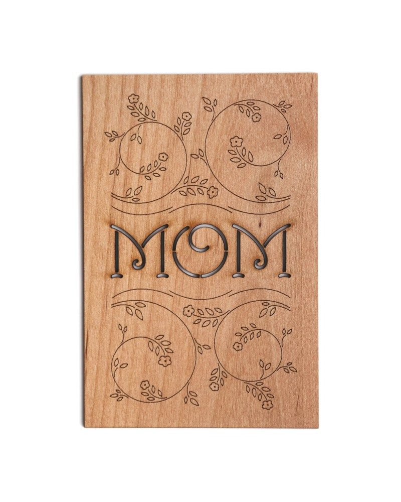 Mom Floral Wooden Card