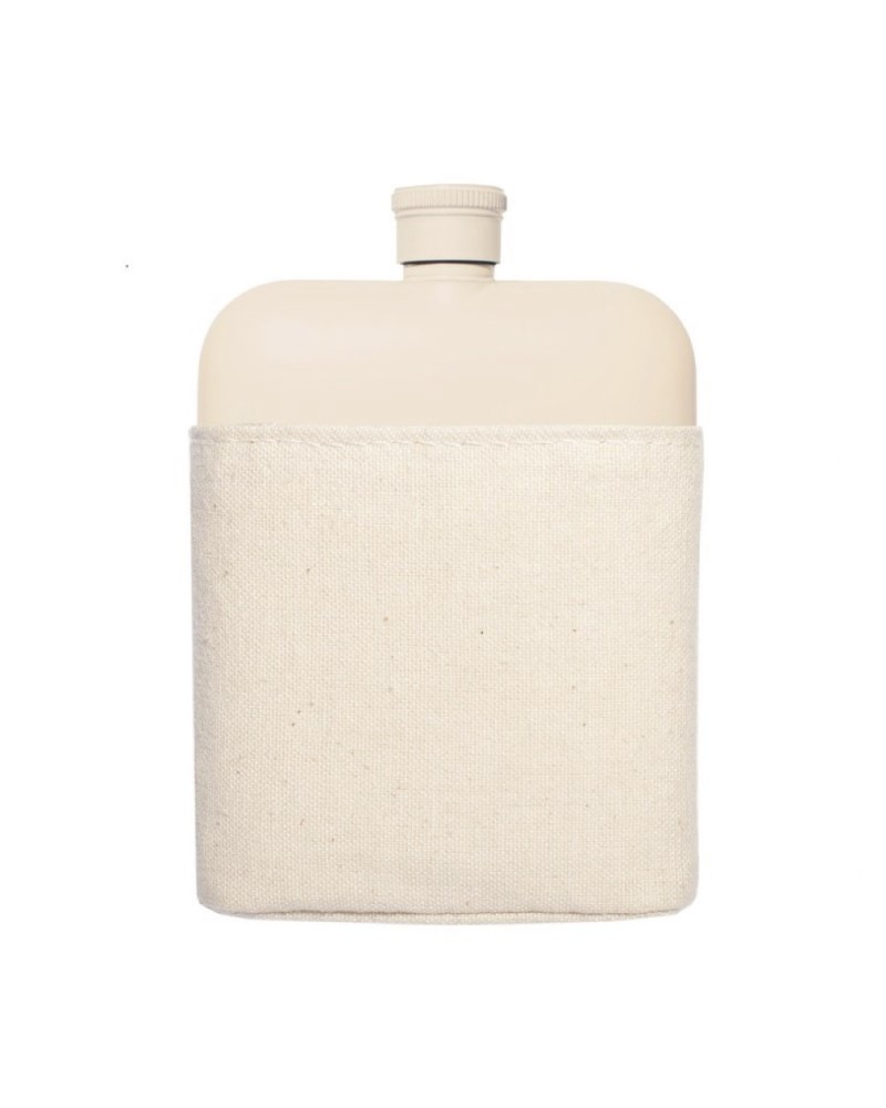 Cream 6 Oz Flask with Canvas Carrier
