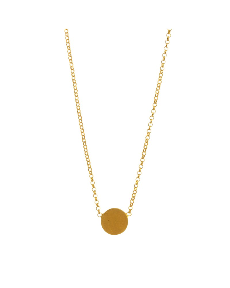 Centered Medium Circle Necklace Gold Dipped
