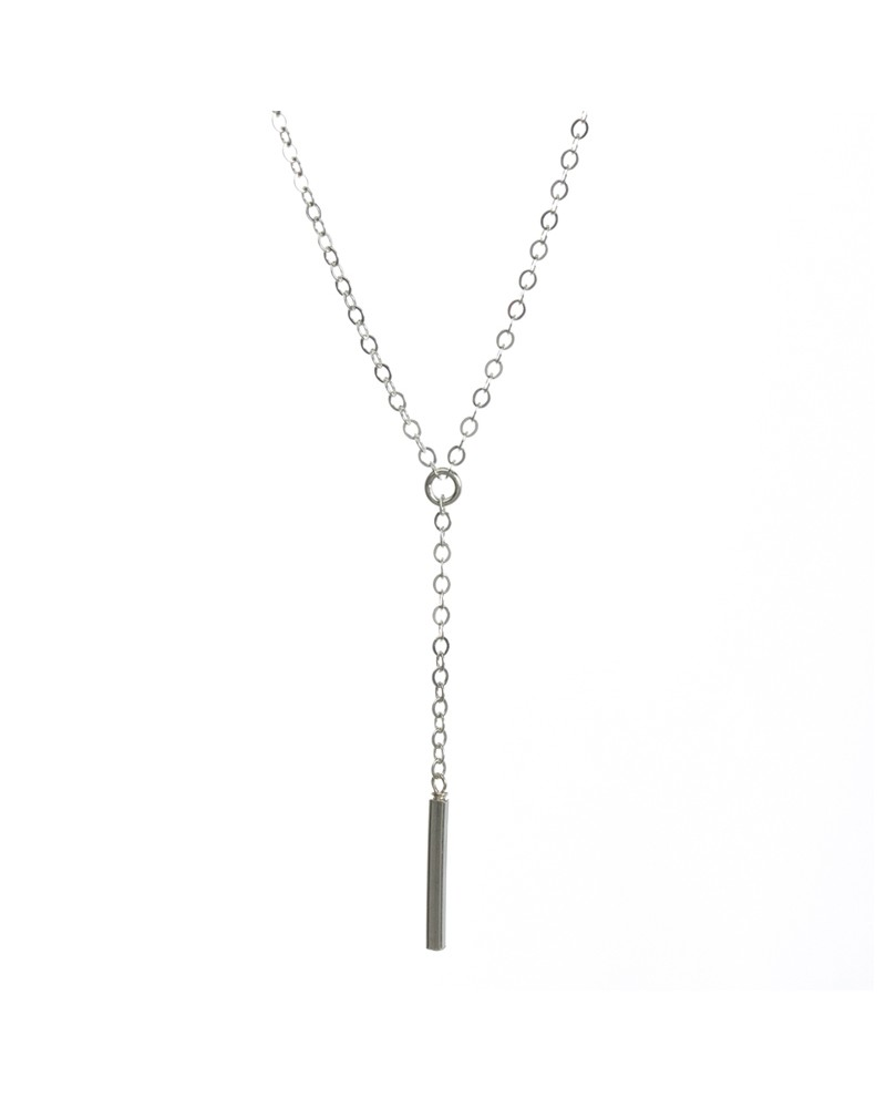 Dare To...Little Y Necklace Square Bar Silver