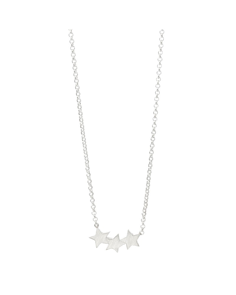 Three Wishes Triple Star Necklace Silver