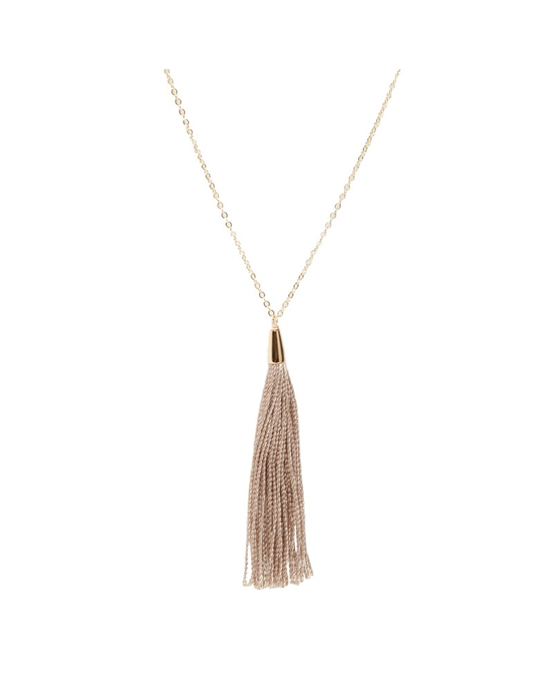 Your Shine Is One Of A Kind Taupe Tassel Necklace Gold Dipped