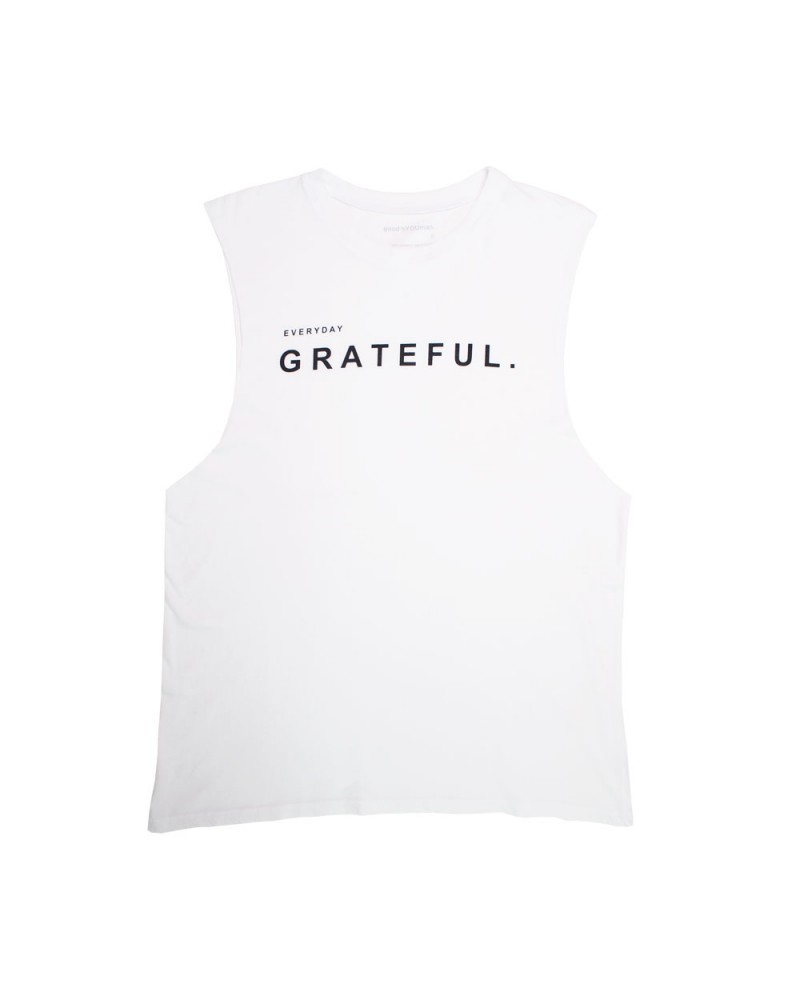 The Aguilera Muscle Tank Everyday Grateful Optic White
