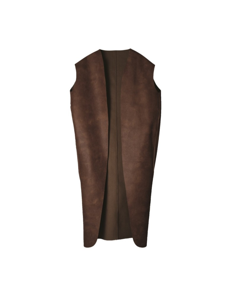 Leather Vest Long Brown