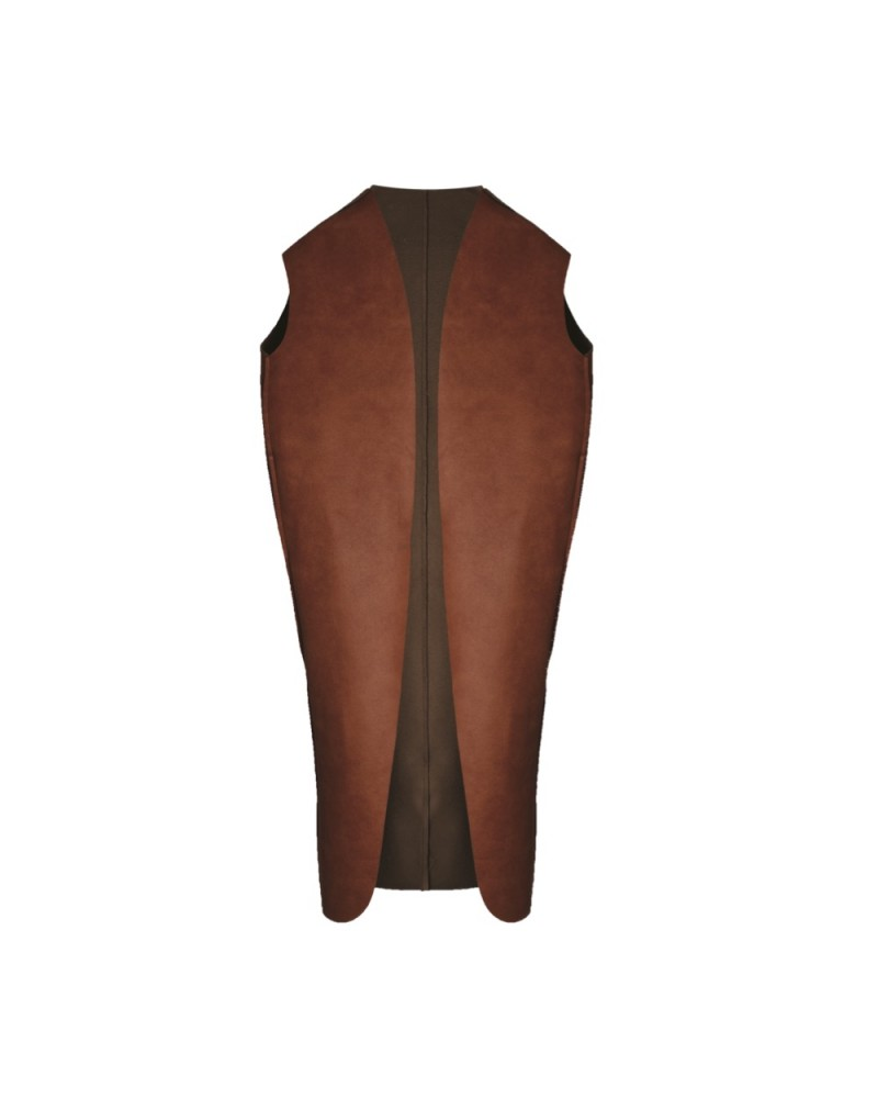 Leather Vest Long Camel