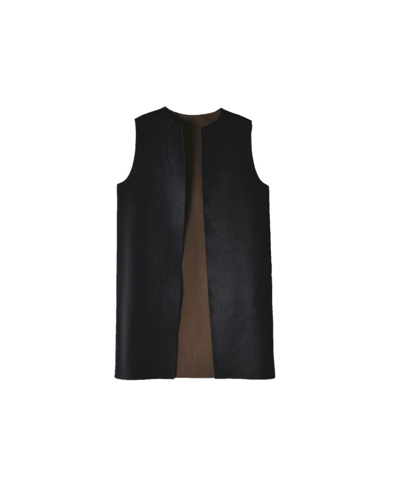 Leather Vest Short Black