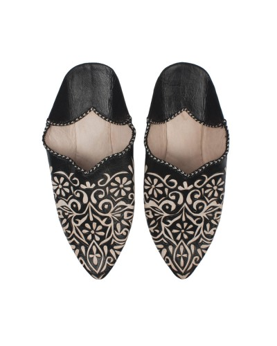 Decorative Babouche Slipper Black