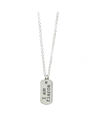 I Am Fierce Small Dogtag Necklace Silver