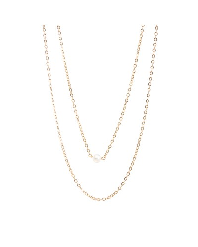 The Romantic Potato Pearl Necklace with Double Layered Chain Gold Dipped