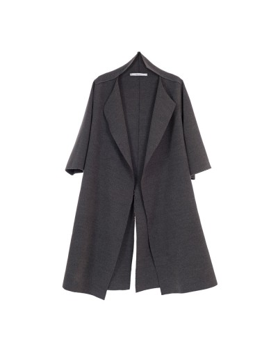 Split Collar Overcoat Grey